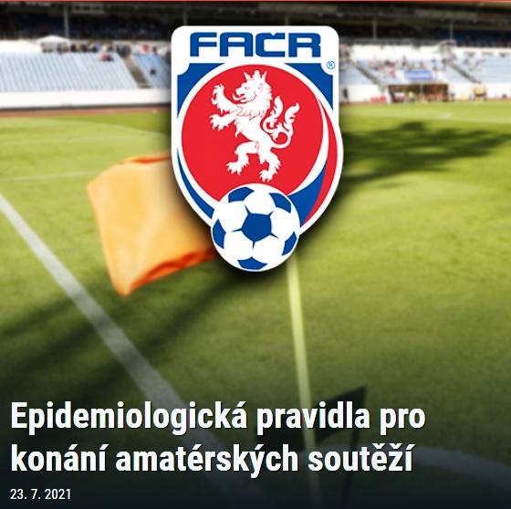 Epidemiologická pravidla pro konání amatérských soutěží – zdroj FAČR 23. 7. 2021